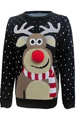 Kersttrui kinderen rudolph 3d neus
