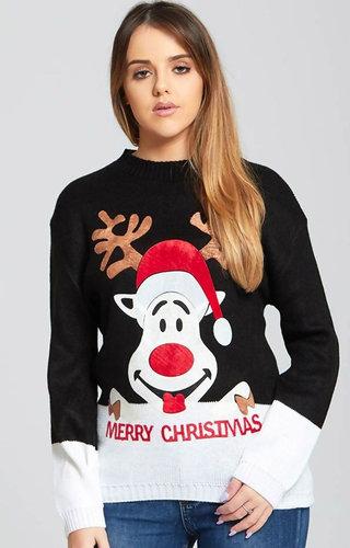 Kersttrui Dames Suède Look Rendier Zwart