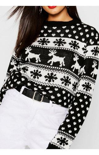 Kersttrui Sneeuw & Rendier Zwart Wit (M)