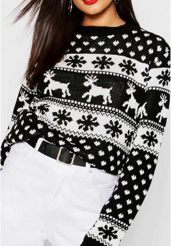 Kersttrui Sneeuw & Rendier Zwart Wit