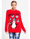 Kersttrui Pinguin Dames Rood