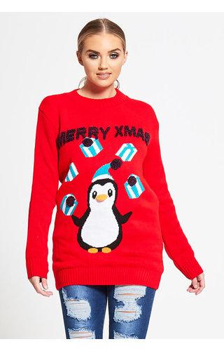 Kersttrui Pinguin Dames Rood (Maat XL)