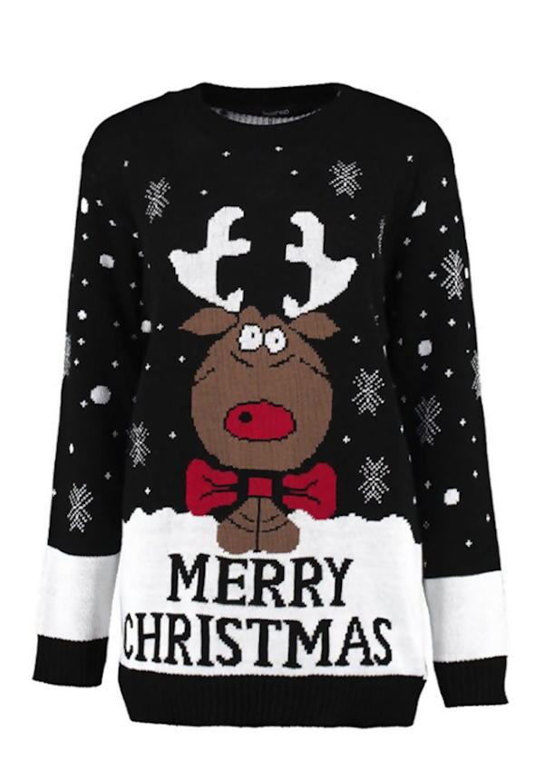Kersttrui Rudolph MC Zwart Wit - Dames