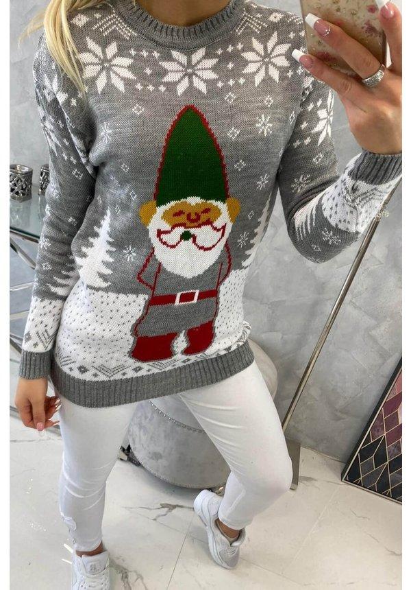 Kersttrui Kabouter Grijs - Dames