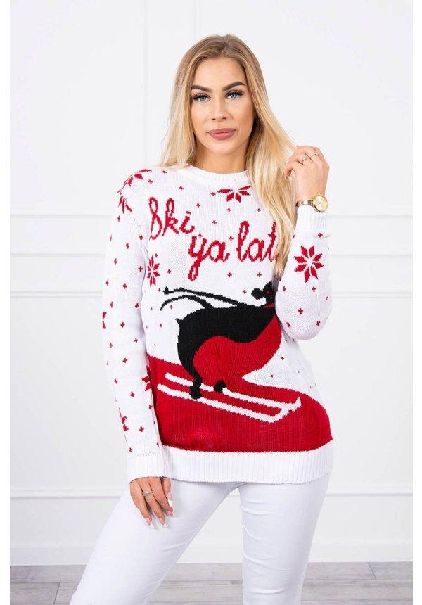 Kersttrui Ski Ya Later Wit - Dames