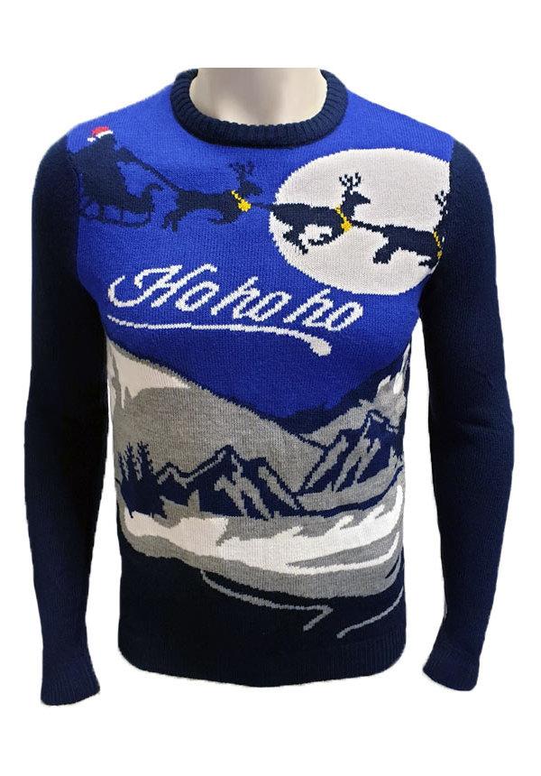 Kersttrui HoHoHo Bergen Slee Blauw - Heren