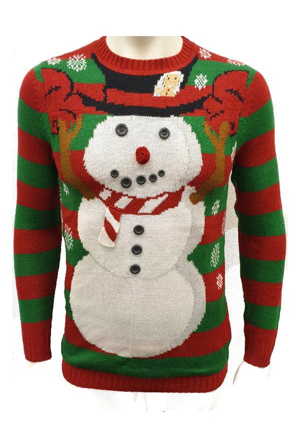 Kersttrui Sneeuwpop 3d Sjaal en Knopen Rood - Heren
