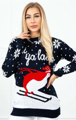 Kersttrui Ski Ya Later Zwart - Dames