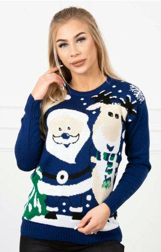 Kersttrui Rendier Kerstman Blauw - Dames