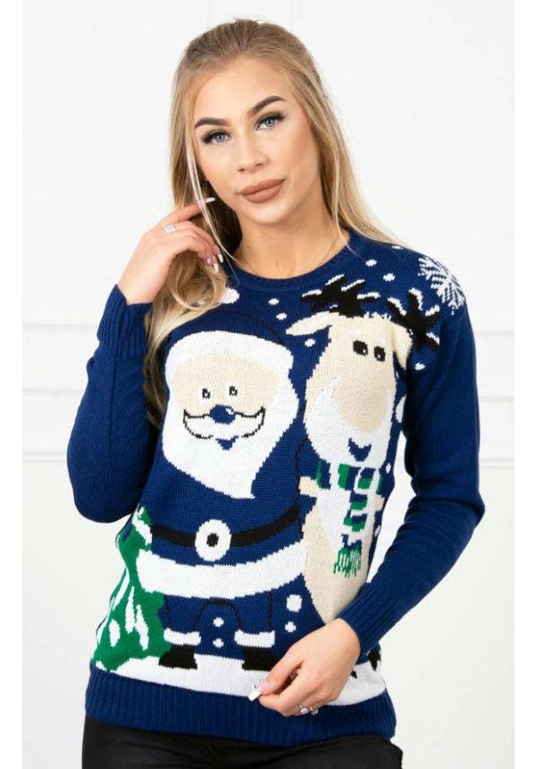 Kersttrui Rendier Kerstman Blauw - Dames - One Size