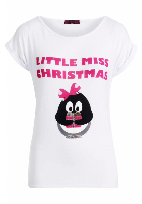 Kerstshirt Little Miss Christmas Wit