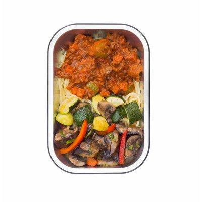 NIEUW Spaghetti bolognese met rundvlees, paddenstoelen en courgette