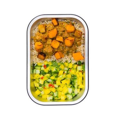 Rode rundvlees curry  met mango en volkoren basmatirijst