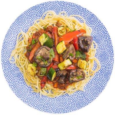 Spaghetti bolognese met rundvlees, paddenstoelen en courgette