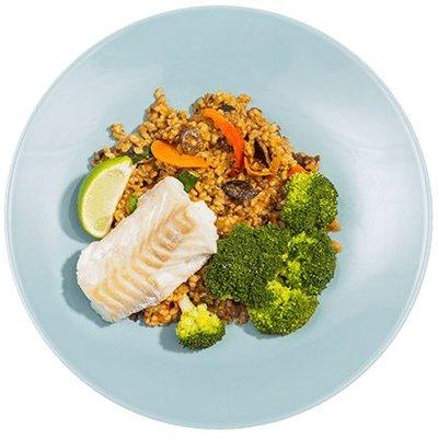 Tomatenrisotto met kabeljauw en broccoli