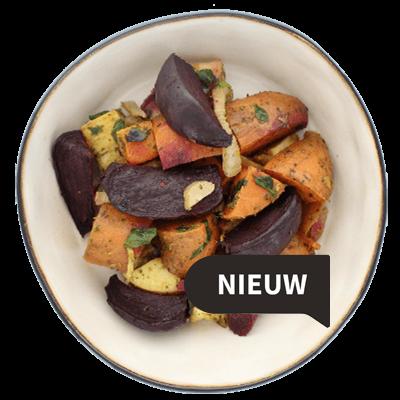 Vegan salade geroosterde groenten en munt