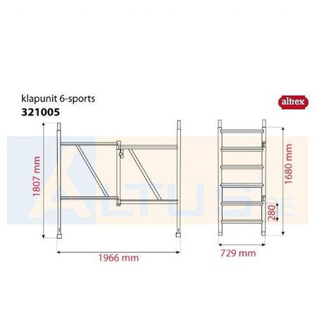 Altrex Altrex RS5 tower onderdelen klap unit 6-sports