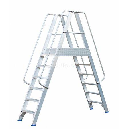 Solide Solide professioneel platform dubbele toegang  2 x 6 treden 1.50m