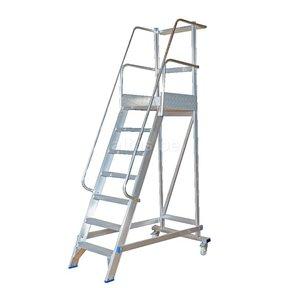 1.75m stahoogte mobiele magazijntrap trap 7 treden