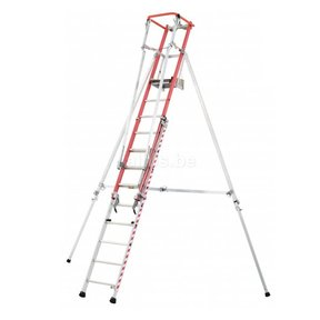 Platformladder vrijstaand mixte ALU/Glasvezel