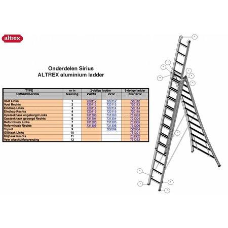 Altrex Altrex onderdelen Altrex Sirius voetje rechts voor Sirius ladder