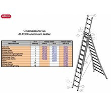 Altrex onderdelen Altrex Sirius reformhaak rechts voor Sirius ladder
