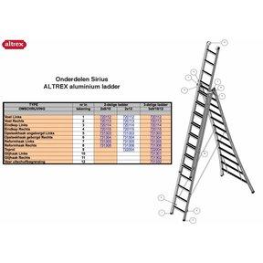 Onderdelen Altrex Sirius glijhaak 72 links ROOD (eindkapjes niet apart te verkrijgen!) 2-delige ladder