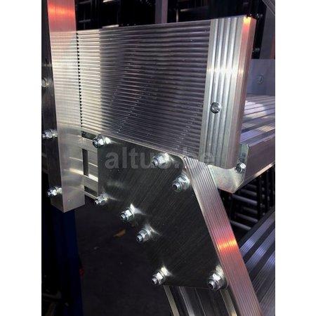Altrex Bordestraponder hoek 45 graden met 4 wielen - tredebreedte 60 cm 9 treden + bordes