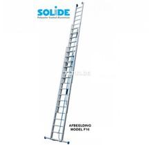 Solide 3-delige professionele touwladder model F3x18 treden