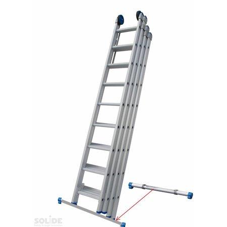 Solide Solide  4-delige professionele schuifladder met stabilisatiebalk, 4 x 8 sporten
