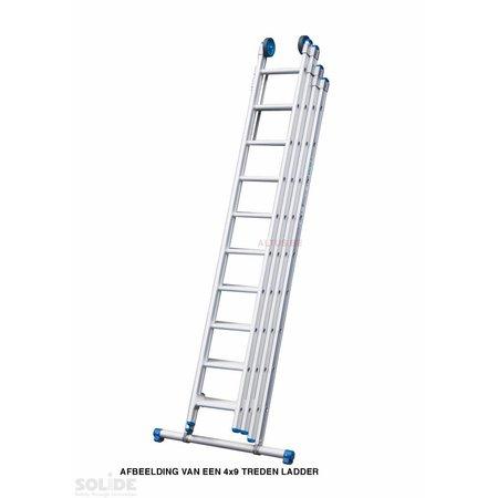 Solide 4-delige Solide professionele schuifladder met stabilisatiebalk, 4x9 sporten