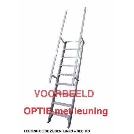 Solide Enkele aluminium leuning voor ET trapladder per trede en per zijde