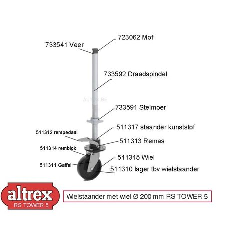 Altrex Altrex RS5 tower wiel Ø 200mm onderdelen veer draad wiel