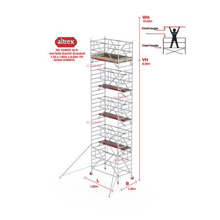 altrex RS TOWER 42-S met Safe-Quick® Guardrail 1,35 x 1,85m x 8,20m VH=10,20M WH