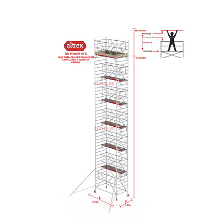 altrex RS TOWER 42-S met Safe-Quick® Guardrail 1,35 x 2,45m x 12,20m VH= 14,20m WH