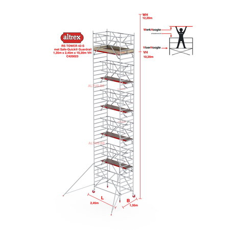 altrex RS TOWER 42-S met Safe-Quick® Guardrail 1,35 x 2,45m x 10,20m VH= 12,20m WH