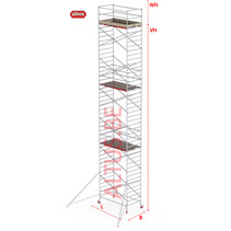 RS-42 Tower 1.35m B x 1.85m L x 12.20m Vh = 14.20 wh traditionele opbouw