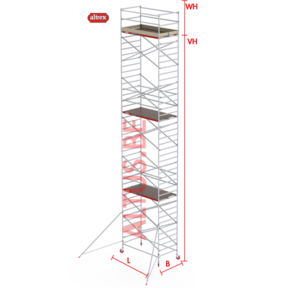 RS-42 Tower 1.35m B x 2.45m L x 11.20m Vh = 13.20 wh traditionele opbouw