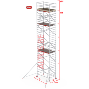 RS-42 Tower 1.35m B x 1.85m L x 10.20m Vh = 12.20 wh traditionele opbouw