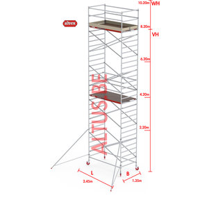 RS-42 Tower 1.35m B x 2.45m L x 8.20m Vh = 10.20 wh traditionele opbouw