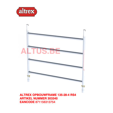 Altrex RS-42 Tower 1.35m B x 1.85m L x 7.20m Vh = 9.20 wh traditionele opbouw