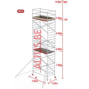 RS-42 Tower 1.35m B x 1.85m L x 7.20m Vh = 9.20 wh traditionele opbouw