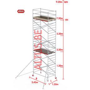 RS-42 Tower 1.35m B x 2.45m L x7.20m Vh = 9.20 wh traditionele opbouw