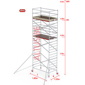 RS-42 Tower 1.35m B x 1.85m L x 6.20m Vh = 8.20 wh traditionele opbouw