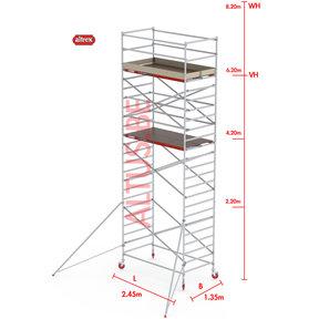 RS-42 Tower 1.35m B x 2.45m L x 6.20m Vh = 8.20 wh traditionele opbouw