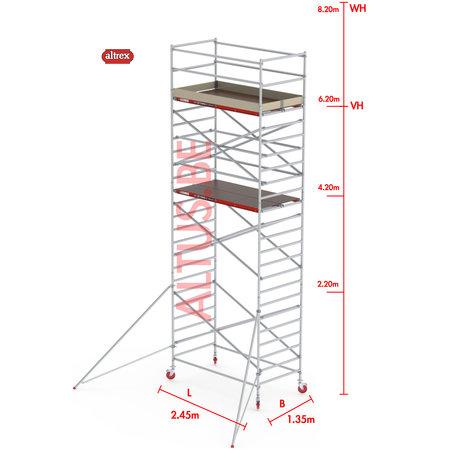Altrex RS-42 Tower 1.35m B x 2.45m L x 6.20m Vh = 8.20 wh traditionele opbouw