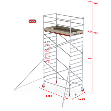 Altrex RS-42 Tower 1.35m B x 2.45m L x 4.20m Vh = 6.20 wh traditionele opbouw