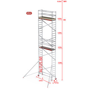 RS-41 Tower 0.75m B x 2.45m L x 8.20m Vh = 10.20 wh traditionele opbouw