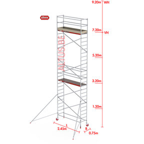 RS-41 Tower 0.75m B x 2.45m L x 7.20m Vh = 9.20 wh traditionele opbouw