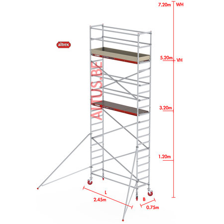 Altrex RS-41 Tower 0.75m B x 2.45m L x 5.20m Vh = 7.20 wh traditionele opbouw